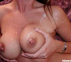 Tight snatch penetrated and having her huge tits cummed on