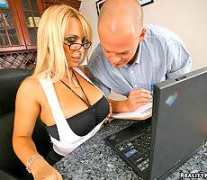 Amazing blonde blue eyed holly calls for computer help but gets her hot pussy slammed against the office desk in these hot big tits fine ass pics