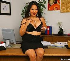 Horny big tits business woman bends over her desk to get fucked hard in exchange for a buisness deal