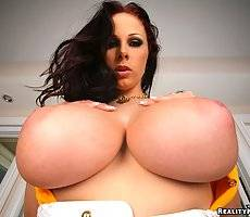 Gianna michaels takes a cock deep in her wet pussy and gets her 36fddd cummed on in these hot pics and big video