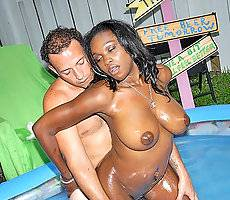 Titty paradise with super hot jasmin getting pounded hard in the pool after a long swim