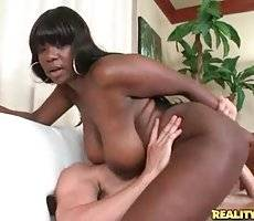 Busty Black Cutie Rides White Dick 4
