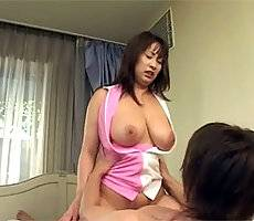 Busty Japanese girl fucked in her hairy slit